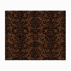 Damask2 Black Marble & Brown Wood (r) Small Glasses Cloth by trendistuff