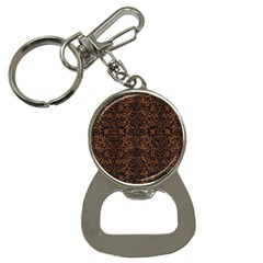 Damask2 Black Marble & Brown Wood (r) Bottle Opener Key Chain by trendistuff