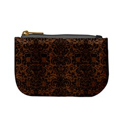 Damask2 Black Marble & Brown Wood (r) Mini Coin Purse by trendistuff