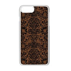 Damask2 Black Marble & Brown Wood (r) Apple Iphone 7 Plus White Seamless Case by trendistuff