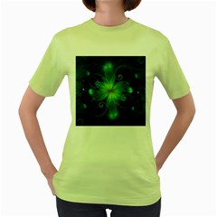 Blue And Green Fractal Flower Of A Stargazer Lily Women s Green T-shirt by jayaprime