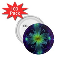Blue And Green Fractal Flower Of A Stargazer Lily 1 75  Buttons (100 Pack)  by jayaprime