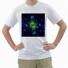Blue And Green Fractal Flower Of A Stargazer Lily Men s T-shirt (white) (two Sided) by jayaprime