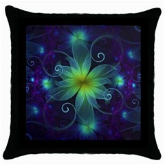 Blue And Green Fractal Flower Of A Stargazer Lily Throw Pillow Case (black)