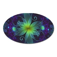 Blue And Green Fractal Flower Of A Stargazer Lily Oval Magnet by jayaprime