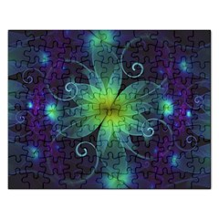 Blue And Green Fractal Flower Of A Stargazer Lily Rectangular Jigsaw Puzzl by jayaprime
