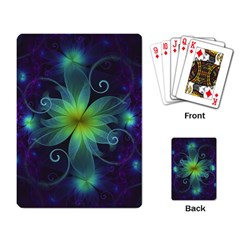 Blue And Green Fractal Flower Of A Stargazer Lily Playing Card by jayaprime