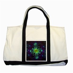 Blue And Green Fractal Flower Of A Stargazer Lily Two Tone Tote Bag by jayaprime