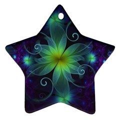 Blue And Green Fractal Flower Of A Stargazer Lily Star Ornament (two Sides) by jayaprime