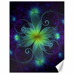 Blue And Green Fractal Flower Of A Stargazer Lily Canvas 12  X 16   by jayaprime