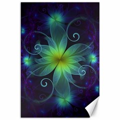 Blue And Green Fractal Flower Of A Stargazer Lily Canvas 12  X 18   by jayaprime