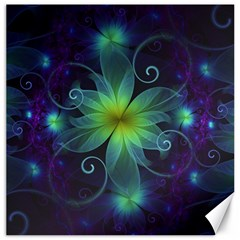 Blue And Green Fractal Flower Of A Stargazer Lily Canvas 16  X 16
