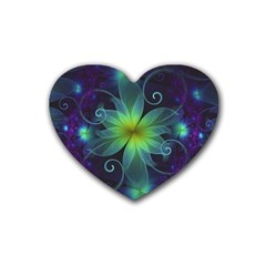 Blue And Green Fractal Flower Of A Stargazer Lily Heart Coaster (4 Pack)  by jayaprime