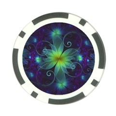 Blue And Green Fractal Flower Of A Stargazer Lily Poker Chip Card Guard by jayaprime