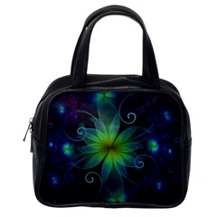Blue And Green Fractal Flower Of A Stargazer Lily Classic Handbags (one Side) by jayaprime