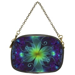 Blue And Green Fractal Flower Of A Stargazer Lily Chain Purses (one Side)  by jayaprime