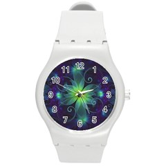 Blue And Green Fractal Flower Of A Stargazer Lily Round Plastic Sport Watch (m) by jayaprime