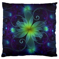 Blue And Green Fractal Flower Of A Stargazer Lily Large Cushion Case (one Side) by jayaprime
