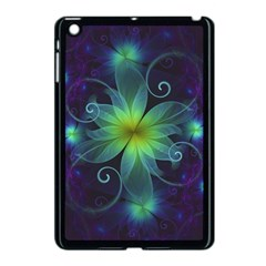 Blue And Green Fractal Flower Of A Stargazer Lily Apple Ipad Mini Case (black) by jayaprime
