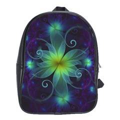 Blue And Green Fractal Flower Of A Stargazer Lily School Bags (xl)  by jayaprime