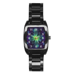 Blue And Green Fractal Flower Of A Stargazer Lily Stainless Steel Barrel Watch by jayaprime