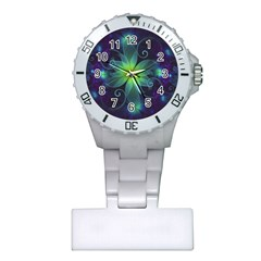 Blue And Green Fractal Flower Of A Stargazer Lily Plastic Nurses Watch by jayaprime