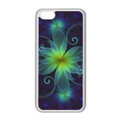 Blue And Green Fractal Flower Of A Stargazer Lily Apple Iphone 5c Seamless Case (white) by jayaprime