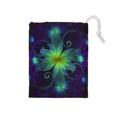 Blue And Green Fractal Flower Of A Stargazer Lily Drawstring Pouches (medium)  by jayaprime