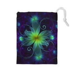 Blue And Green Fractal Flower Of A Stargazer Lily Drawstring Pouches (large)  by jayaprime