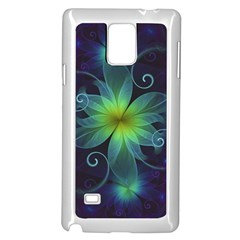 Blue And Green Fractal Flower Of A Stargazer Lily Samsung Galaxy Note 4 Case (white) by jayaprime