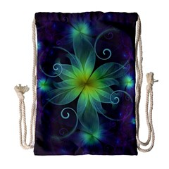 Blue And Green Fractal Flower Of A Stargazer Lily Drawstring Bag (large) by jayaprime