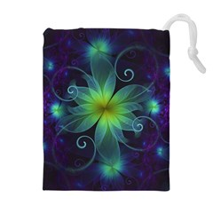 Blue And Green Fractal Flower Of A Stargazer Lily Drawstring Pouches (extra Large) by jayaprime