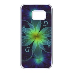Blue And Green Fractal Flower Of A Stargazer Lily Samsung Galaxy S7 White Seamless Case by jayaprime