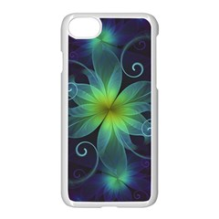 Blue And Green Fractal Flower Of A Stargazer Lily Apple Iphone 7 Seamless Case (white) by jayaprime