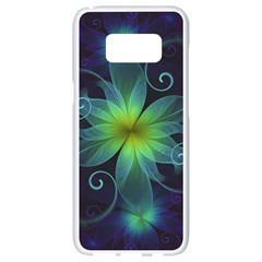Blue And Green Fractal Flower Of A Stargazer Lily Samsung Galaxy S8 White Seamless Case by jayaprime