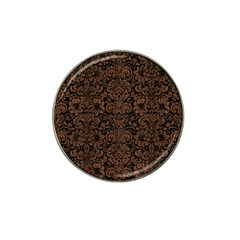 Damask2 Black Marble & Brown Wood Hat Clip Ball Marker by trendistuff
