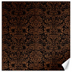 Damask2 Black Marble & Brown Wood Canvas 16  X 16  by trendistuff