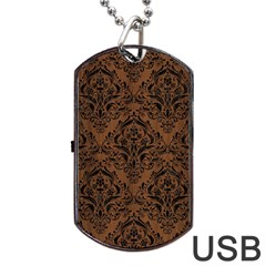 Damask1 Black Marble & Brown Wood (r) Dog Tag Usb Flash (two Sides) by trendistuff