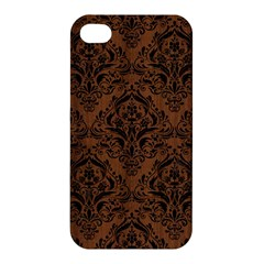 Damask1 Black Marble & Brown Wood (r) Apple Iphone 4/4s Hardshell Case by trendistuff