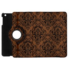 Damask1 Black Marble & Brown Wood (r) Apple Ipad Mini Flip 360 Case by trendistuff