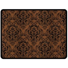 Damask1 Black Marble & Brown Wood (r) Double Sided Fleece Blanket (large) by trendistuff