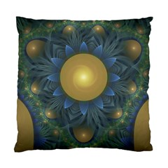 Beautiful Orange & Blue Fractal Sunflower Of Egypt Standard Cushion Case (two Sides) by jayaprime