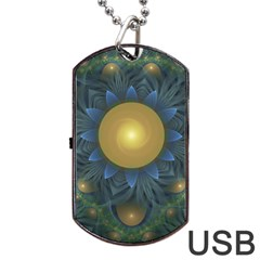 Beautiful Orange & Blue Fractal Sunflower Of Egypt Dog Tag Usb Flash (one Side) by jayaprime