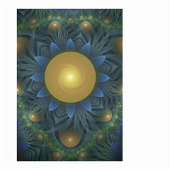Beautiful Orange & Blue Fractal Sunflower Of Egypt Small Garden Flag (two Sides) by jayaprime