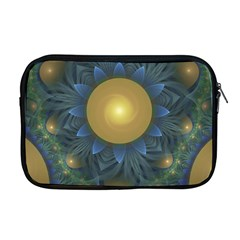 Beautiful Orange & Blue Fractal Sunflower Of Egypt Apple Macbook Pro 17  Zipper Case by jayaprime