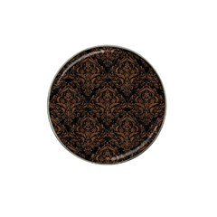 Damask1 Black Marble & Brown Wood Hat Clip Ball Marker by trendistuff