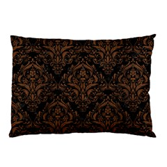 Damask1 Black Marble & Brown Wood Pillow Case (two Sides) by trendistuff