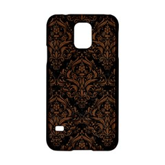 Damask1 Black Marble & Brown Wood Samsung Galaxy S5 Hardshell Case  by trendistuff