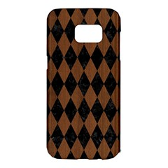 Diamond1 Black Marble & Brown Wood Samsung Galaxy S7 Edge Hardshell Case by trendistuff