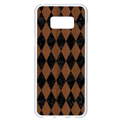 Diamond1 Black Marble & Brown Wood Samsung Galaxy S8 Plus White Seamless Case